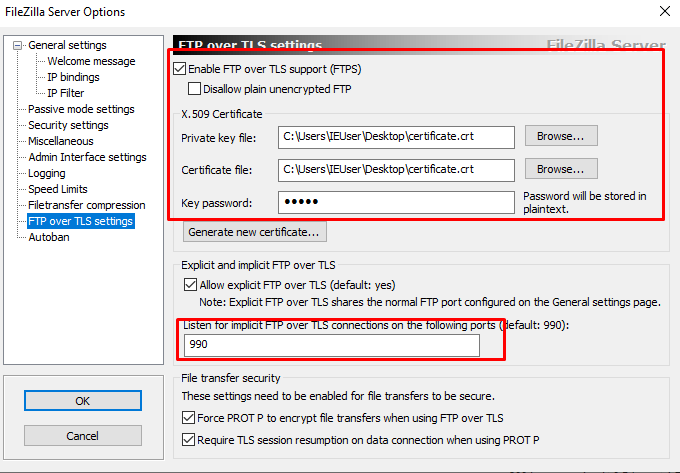 Filezilla ftp over tls certificate